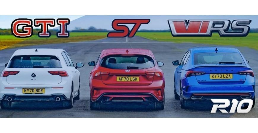 [Vídeo] Ford Focus ST vs. Volkswagen Golf GTI vs. Škoda Octavia RS: ¿Podrán los «hermanos» con el americano?